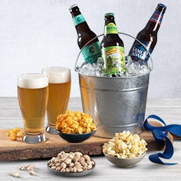 Microbrew Beer Bucket Gift Basket - 3 Beers