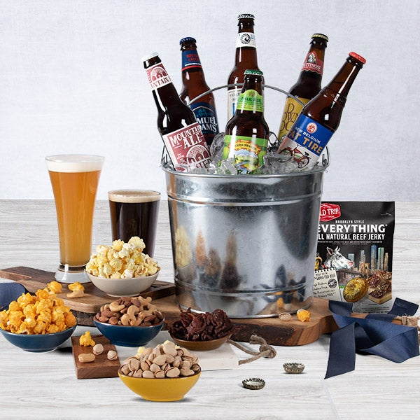 Microbrew Beer Bucket Gift Basket by GourmetGiftBaskets.com