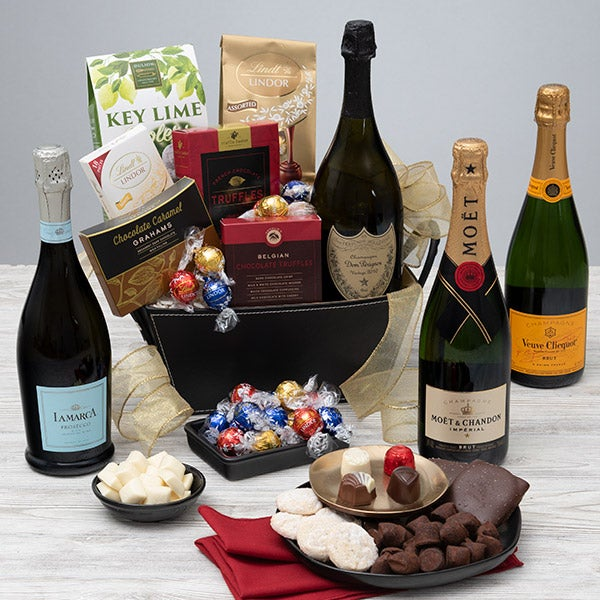 Champagne and truffles - Valentines day gift basket
