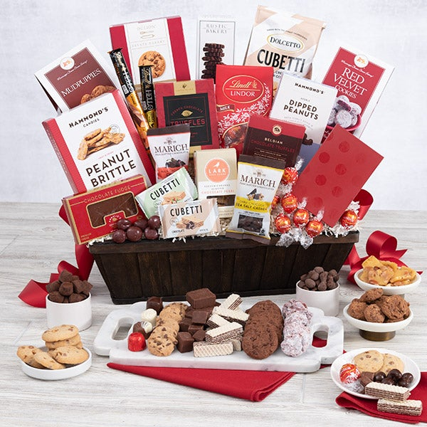 christmas chocolates gift basket deluxe