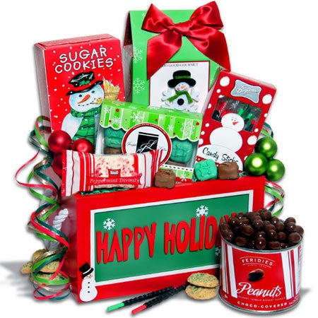 Holiday Sweets Treats Gift Crate Christmas Gift Basket