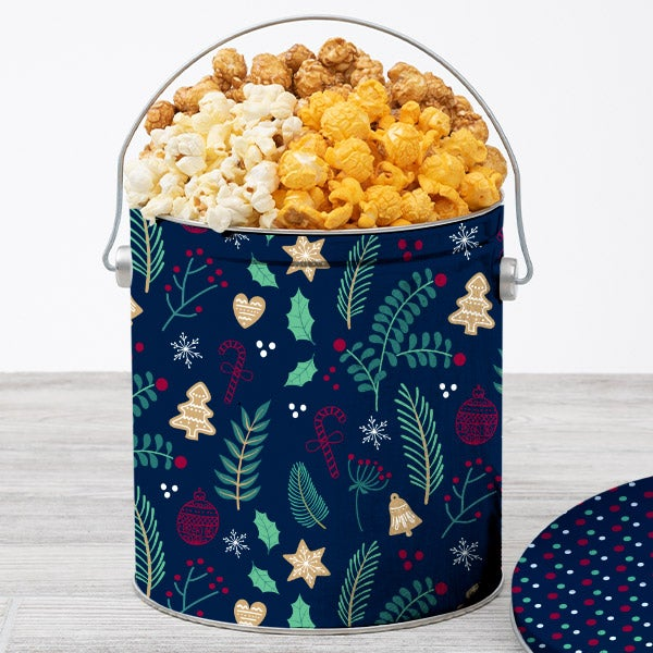 Home For The Holidays Popcorn Tin 1 Gallon Traditional
