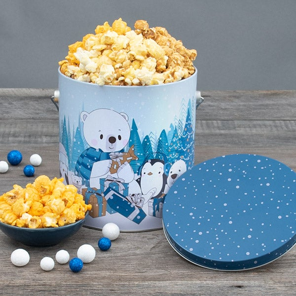 Let It Snow Holiday Popcorn Tin Peoples Choice 1 Gallon