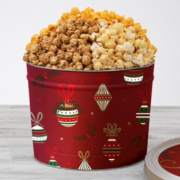 Red Christmas Ornaments Popcorn Tin
