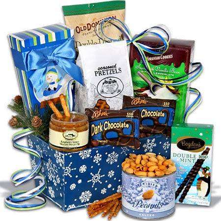 Holiday Sweets & Treats Snowflake Tin Christmas Gift Basket