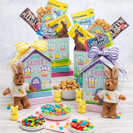 Double bunny easter basket by gourmetgiftbaskets negle Choice Image