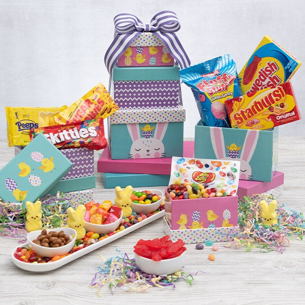 Easter gift baskets easter boxes delivered gourmetgiftbaskets happy easter gift tower negle Choice Image