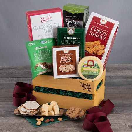 *Free Ground Shipping or $10 Off Expedited Shipping Savings will be reflected on the shipping calendar during checkout process The most memorable gifts aren't expensive they're thoughtful! That's why we created this wonderful gift, which is perfect for any occasion. Inside a beautiful basket, our experts have brought together some of the most coveted gourmet treats, like handcrafted popcorn, roasted peanuts, and crispy snack mix, creating a beautiful and thoughtful arrangement that they'll find completely irresistible!