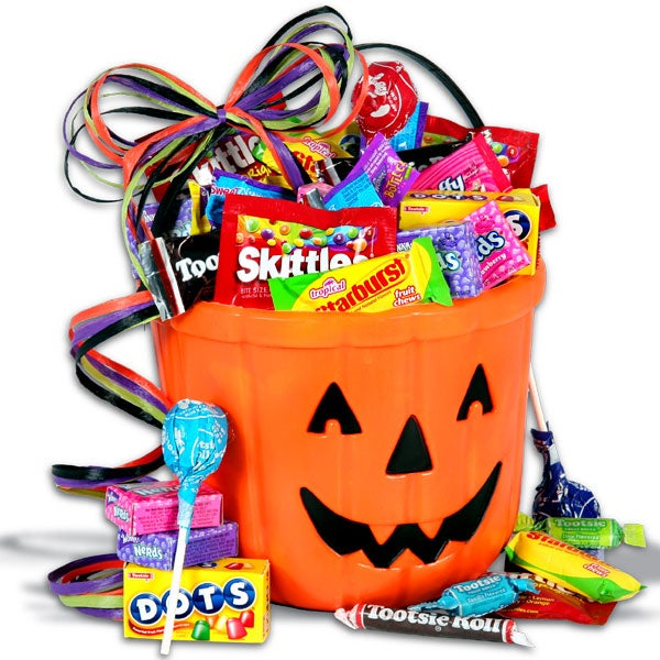 Candy gift baskets trays shop and compare at pointshop candy o lantern halloween gift basket negle Gallery