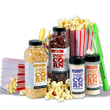 popcorn lovers/night at the movies gift basket stack