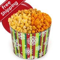 Stripes & Snowflakes Gourmet Popcorn Tin (7260)