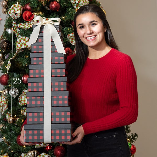 Our Buffalo Plaid Gourmet Gift Tower is 25
