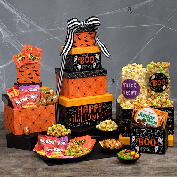 Haunted House Halloween Gift Tower by GourmetGiftBaskets.com