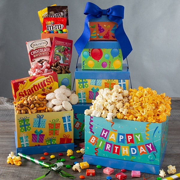Happy Birthday Gift Tower By GourmetGiftBaskets.com