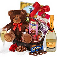 Champagne & Teddy Bear Valentine's Day Gift Basket (1327)