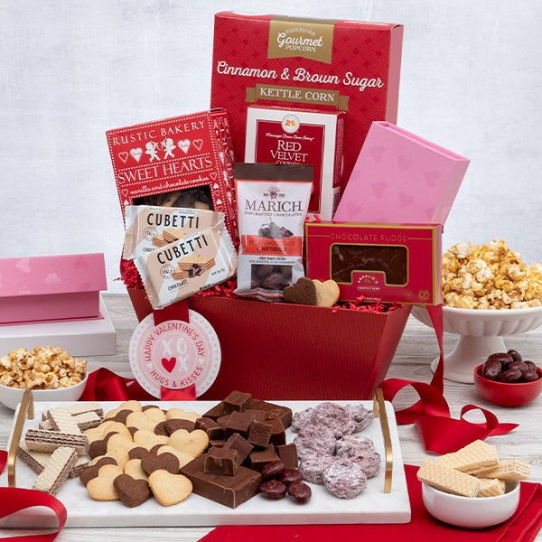 Teddy Bear & Chocolates Valentine'S Day Gift Basket By