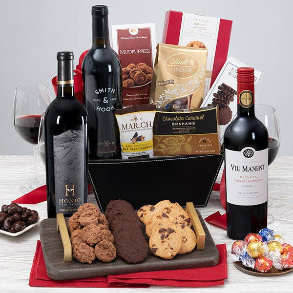 Red Wine & Dark Chocolate Gift Basket by GourmetGiftBaskets.com