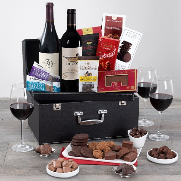 Red Wine Duo Amp Chocolate Suitcase By Gourmetgiftbaskets Com