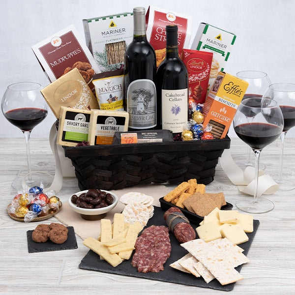 Retirement gift baskets by gourmetgiftbasketscom silver oak duo red wine gift basket negle Choice Image