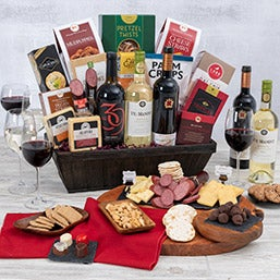 Mothers day gift baskets gifts for mom by gourmetgiftbaskets wine lover39s suitcase trio negle Choice Image