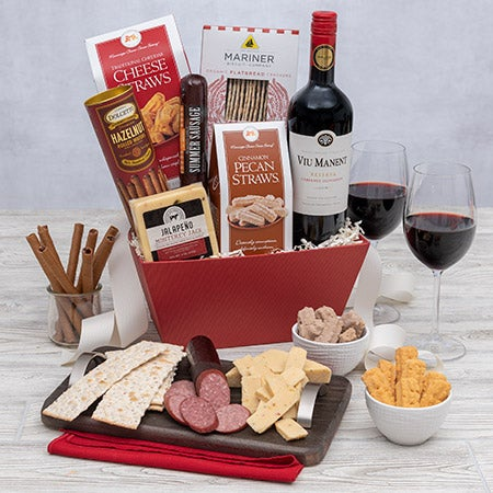 Wine and cheese gift basket red