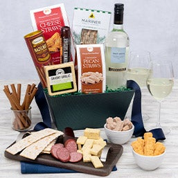 Wine and Cheese Gift Basket - White