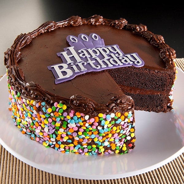 Chocolate Happy Birthday Cake By GourmetGiftBaskets.com