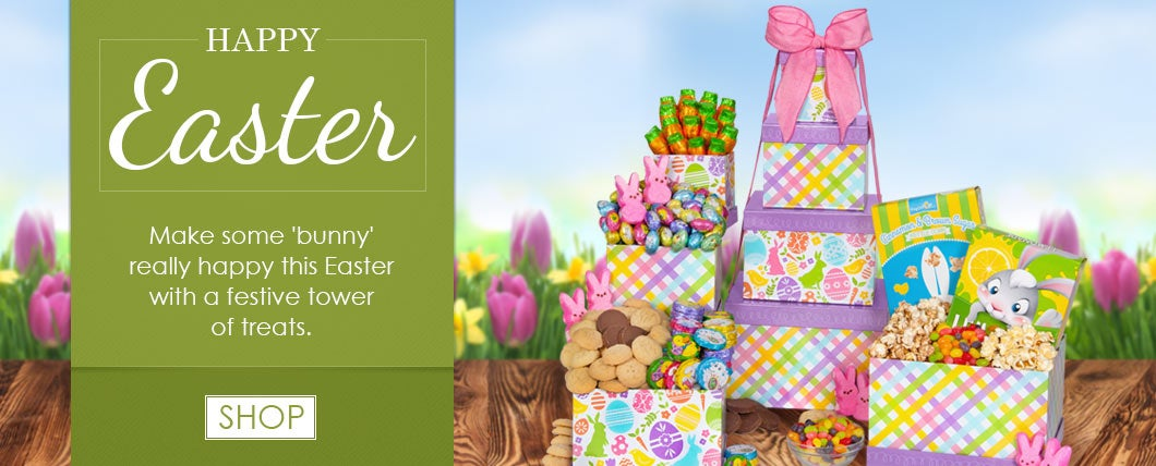 Gift baskets by gourmetgiftbaskets ultimate easter gift basket easter bunny gift tower negle Choice Image