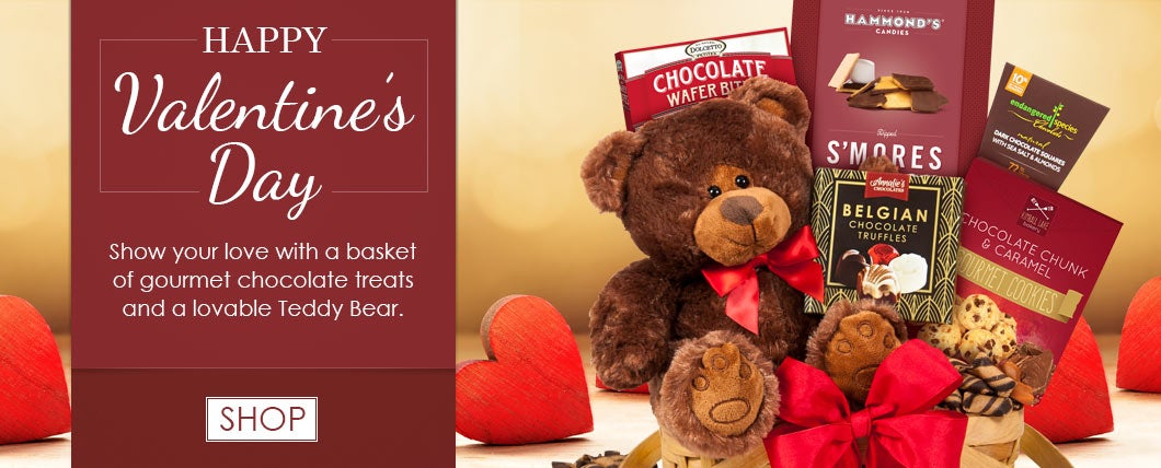 Teddy Bear and Chocolates Valentine's Day Gift Basket